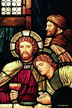 Detail from the Last Supper, Church of the Incarnation, NYC, stainedglassphotography.com.