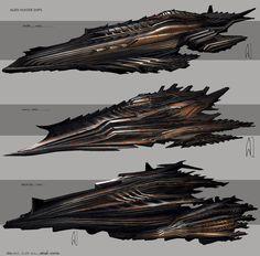 Alien spacecraft with spiky, sort of organic form.
