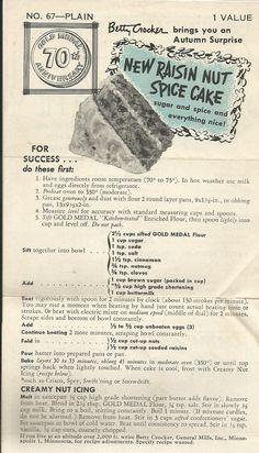 Raisin Nut Spice Cake, a Gold Medal Flour recipe.