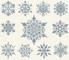 vector set of decorative snowflakes Snow Flake Tattoo, Snowflake Background, Christmas Snowflakes, Christmas Tattoo, Vector Christmas, Snowflake Pattern, Snowflake Template, Arte Popular, Printable Designs
