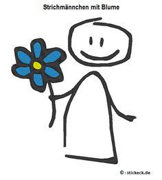 Freebie - 20170310 - Strichmaennchen mit Blume - stickeck.de