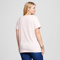 Women's Plus Size V-Neck T-shirt - Ava & Viv Bermuda Coral (Pink) 4X