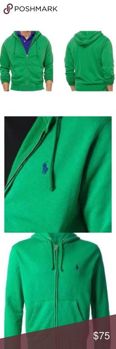 POLO RALPH LAUREN MEN'S ZIP FLEECE HOODIE JACKET Polo Ralph Lauren crafts this casual full-zip hoodie from soft cotton fleece with a signature embroidered pony. Featuring an attached drawstring hood, a full zip front, long sleeves with ribbed cuffs, a split kangaroo pocket at front, signature embroidered pony at chest and a ribbed hem. new  with tag  COLOR; GRASS GREEN   Size M Drawstring hood. Full-zip front.  Long sleeves with ribbed cuffs.  Split kangaroo pocket. 90% cotton. 10%…