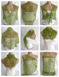 Hand crocheted green magic shawl $49.00