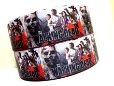 Amazingly ghoulish Walking Dead ribbon for your zombie birthday party celebration.   This ribbon features many popular television show characters as well as one scary looking zombie.  Add it to your favors and table decor to pull the party theme together.