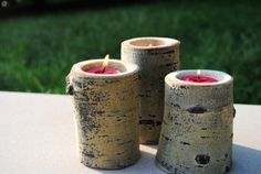 Tree trunk candles...