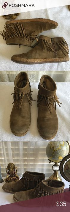 UGG  Short Fringed Ankle Zipper Moccasins UGG super  cute and comfy rubber sole ankle moccasins. Fringed at the ankle with an inside zipper. Camel brown suede. A few of the fringes are missing  but hardly noticeable. UGG Shoes Ankle Boots & Booties