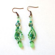Green Beaded Earrings - Green Freeform Earrings - Mint Green Earrings