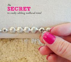 The secret to easily adding nailhead trim! This makes it so much easier! #nailhead #upholstery #diy