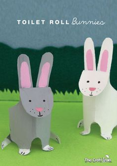 Toilet Roll Bunnies-an adorable Easter or spring craft for kids Animal Crafts For Kids, Easter Crafts For Kids, Diy For Kids, Easter Activities, Preschool Crafts, Activities For Kids, Cardboard Tube Crafts, Toilet Paper Roll Crafts, Cardboard Rolls