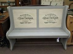 $225 - This shabby chic church pew has a two tone painted finish, hand applied appliques and finished in a dark tinted wax. ***** In Booth E5 at Main Street Antique Mall 7260 E Main St (east of Power RD on MAIN STREET) Mesa Az 85207 **** Open 7 days a week 10:00AM-5:30PM **** Call for more information 480 924 1122 **** We Accept cash, debit, VISA, Mastercard, Discover or American Express