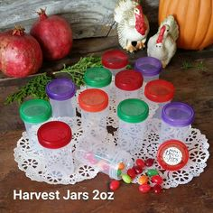 12 Pill Bottle Jars Harvest Color Caps Party Favor Candy Container New #4314 USA #Decojars