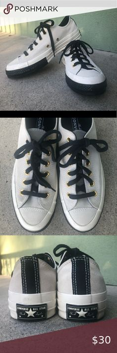 Chuck Taylor Converse 70-all Star Suede M5.5 W7 These All Star 70's are clean & Like new. Off white suede, navy laces and detailing, gold shoelace eyelets.  Men's size 5.5/Women's size 7  Light staining on shoe tongues, see photos. Converse Shoes Sneakers