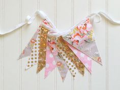 Shabby Chic Floral Gray Pink and Gold Fabric by pearlandjane