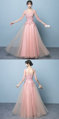 Elegant Pink Tulle Prom Dress with Sleeves, Pink Bridesmaid Dress – BeMyBridesmaid Prom Dresses Long With Sleeves, Formal Dresses For Women, Formal Evening Dresses, Trendy Dresses, Sexy Dresses, Nice Dresses, Casual Dresses, Fashion Dresses, Dress Formal