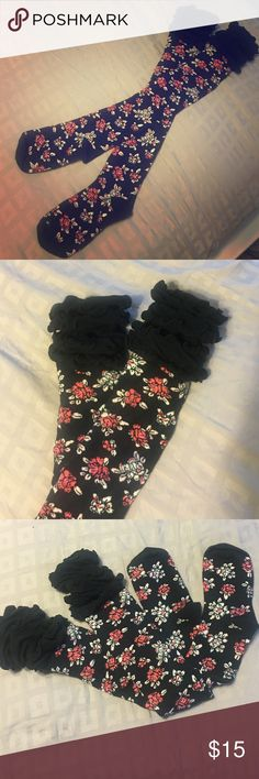 Adorable knee high stockings Knee high socks/stockings, made to wear with boots and the lacy tops and some of the floral print peeps over the tops of boots when worn with something like a sweater dress. New without tag. Never worn super cute! Other