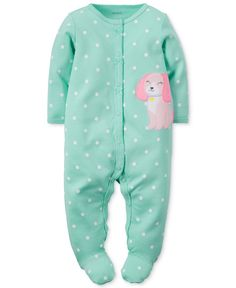 Carter's Baby Girls' Turquoise Puppy Coverall