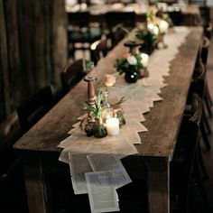 Table runners wedding - 50 The Best Winter Table Decorations You Need to Try – Table runners wedding Wedding Table Decorations, Wedding Centerpieces, Wedding Themes, Long Table Centerpieces, Centerpiece Ideas, Wedding Table Runners, Rustic Wedding Tables, Table Setting Wedding, Cheap Table Runners