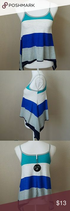 """NWT Poof Striped Loose Fit Boho Tank Top Brand new with tags, soft, lightweight, and flowing, perfect with Cuttoff shorts for the summer. Higher on the breast bone with smaller straps.  Breastline 14.5"""" length 19"""". 60% cotton, 35% rayon, 5% spandex. Machine wash cold. Super cute! Poof! Tops Tank Tops"""
