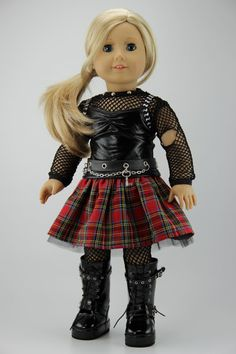 American Girl doll clothes  5 piece punk by DolliciousClothes