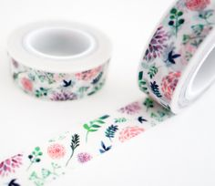 Single roll of floral washi tape with beautiful pink and purple dahlia flower pattern. Great for scrapbooking, gift wrapping, decorating cards and envelopes and more! Add a little dash of cuteness to Purple Dahlia, Dahlia Flower, Pink Purple, Washi Tape Crafts, Washi Tapes, Duct Tape, Masking Tape, Cute School Supplies, Decorative Tape