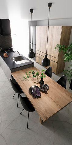 Industrial Kitchen Design, Kitchen Room Design, Contemporary Kitchen Design, Home Decor Kitchen, Interior Design Kitchen, New Kitchen, Home Kitchens, Kitchen Island Dining Table, Modern Kitchen Interiors