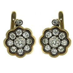1800s 4 Carats Diamonds Gold Cluster Earrings | From a unique collection of vintage clip-on earrings at https://www.1stdibs.com/jewelry/earrings/clip-on-earrings/