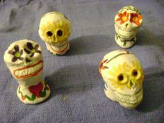 """Day of the Dead food placecards for Anne's party, made from leftover air-dry clay (approx 2.5"""" tall)"""