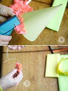Love this site. shows how to make cute party hats. so easy and beautiful!!