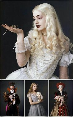 The entire cast of Tim Burton's film is absolutely fabulous.Anne Hathaway as the White Queen, Johnny Depp as the Mad Hatter, Mia Wasikowska as Alice, and Helena Bodham Carter as the Red Queen. Totally in the mad way of Tim Burton Film Tim Burton, Tim Burton Art, Tim Burton Characters, Foto Fantasy, Colleen Atwood, Mia Wasikowska, Johny Depp, Wonderland Party, Alice And Wonderland Costumes
