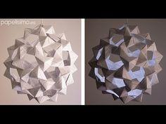 Cómo hacer lámpara de papel (icosaedro truncado)   Manualidades
