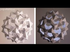 Lámpara de papel origami (icosaedro truncado) - YouTube