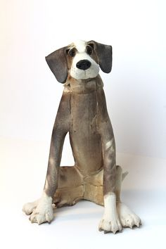 Patchy Sitting Dog #ceramic #sculpture #dog #pet