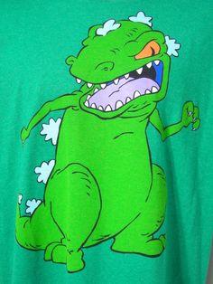 Nickelodeon Reptar Rugrats New XL Green T-Shirt Extra Large Dinosaur Cartoon #NickelodeonByFifthsun #GraphicTee
