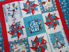 """Dr Suess Quilt The Cat in the Hat for Baby or Toddler by bellazahn, $155.00 39x48"""""""