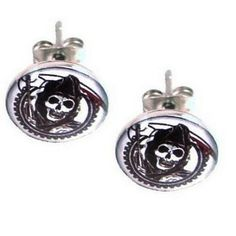 Stainless Steel Sons of Anarchy Stud Earrings - Timeless Treasures - Free gift bag with purchase