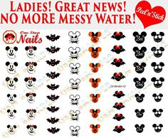 Disney Halloween Set of 57 clear vinyl Peel and Stick (NOT Waterslide) nail art decals/stickers by One Stop Nails. Halloween Nail Decals, Disney Halloween Nails, Disney Halloween Cruise, Light Colored Nails, Disney Decals, Stick On Nails, Disney Makeup, Nails First