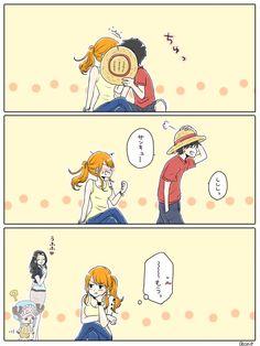 Nami x Luffy Manga Anime One Piece, Chica Anime Manga, Otaku Anime, Anime Art, One Piece Funny, One Piece Comic, One Piece Fanart, Nami One Piece, One Piece Ship