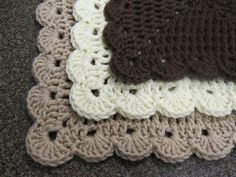 Crochet Wash Cloths - Set of Three Scalloped Granny Square Cotton Dish Cloth in Chocolate Brown, Taupe, and Ivory