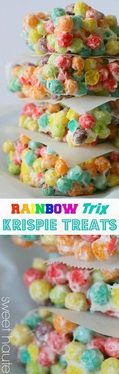 Rainbow Trix Krispie Treats St Patricks Day party ideas, recipes, bday, rainbow theme events-SWEET HAUTE Pin now.....read laters! #Rainbows