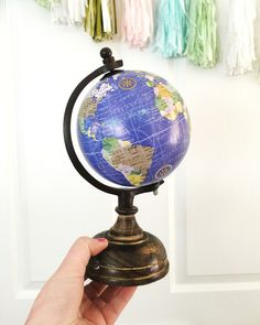 """Custom 8"""" Blue Hand Lettered Tabletop Globe // Up to 10 Words"""