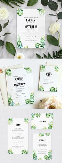 Botanical Ferns invitation by Fine Day Press #weddinginvitations #weddinginspiration #rusticwedding #greenery
