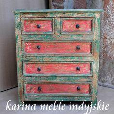 meble indyjskie - kolorowa indyjska komoda