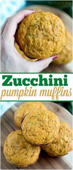 Pumpkin Zucchini Muffins Recipe Is Easy And The Perfect Fall Breakfast For Sure. Destroyed Zucchini And Pumpkin Bread Are The Perfect Pairing. Shredded Zucchini Recipes, Zucchini Muffin Recipes, Recipe Zucchini, Zuchinni Recipes Bread, Pumpkin Muffin Recipes, Baby Food Recipes, Fall Recipes, Cooking Recipes, Recipes Dinner