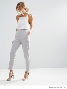 simple-and-classic-office-outfit-white-tank-sandals-and-grey-pants