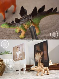 Ingeniosos sujeta fotos DIY - thegoldjellybean.com - DIY Dinosaur Photo Holder