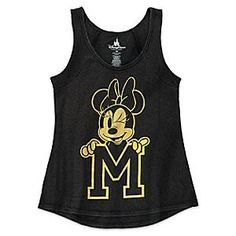 Minnie Mouse Letterman Tank for Women | Disney Store ''M'' is for . . . ? Minnie gives a knowing wink as she holds up her initial on this tank for women. The gold artwork stands out on this black top that features a soft blended fabric, raglan seams, and shirttail hem.