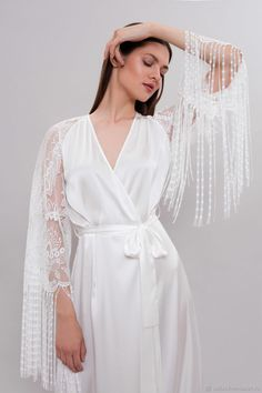 Vintage Lingerie - Long Bridal Robe Long Silk Robe, Bridal Robe with Lace Sleeves - buy or order in an online shop on Livemaster Lace Bridal Robe, Bridal Robes, Wedding Lingerie, Silk Robe Long, Satin Sleepwear, Nightwear, White Lingerie, Vintage Lingerie, Lace Sleeves