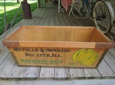 BANANA~Vintage Wooden Banana Box Crate. by thevrose on Etsy