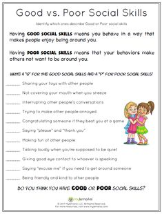 Social Skills Worksheets for Kids and Teens Social Skills Worksheets for Kids and Teens,Manners/Social Skills Mylemarks is a company dedicated to providing parents and professionals with helpful resources to teach social-emotional skills to children. Social Skills For Kids, Social Skills Activities, Teaching Social Skills, Counseling Activities, Social Emotional Learning, Lessons For Kids, Therapy Activities, Career Counseling, Work Activities